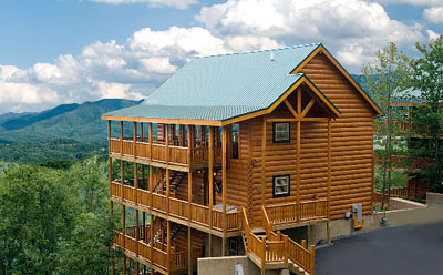 large vacation cabin with unobstructed view of the great smoky