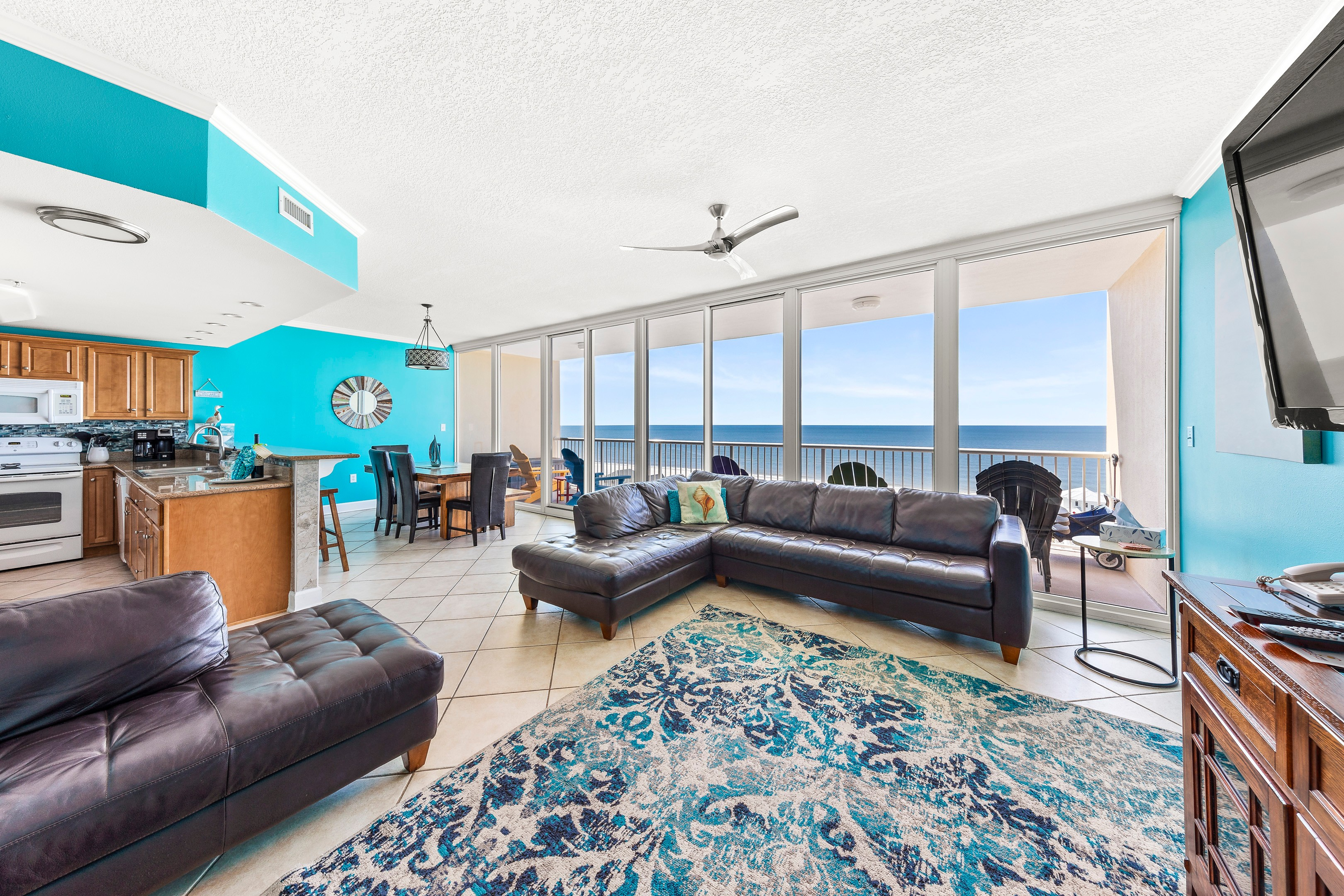 30 foot WALL OF GLASS gives you a great view of the Gulf from inside and the private balcony.