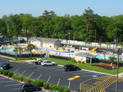 View of the Lazy River/Splash Zone from the balcony of 555B