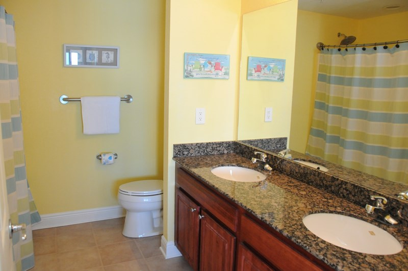 Master Bathroom with Double Sinks, Granite Counter Top and Comfort Height Toilet