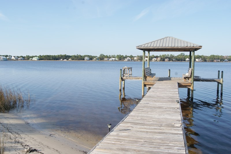 Dock and gazebo on property
