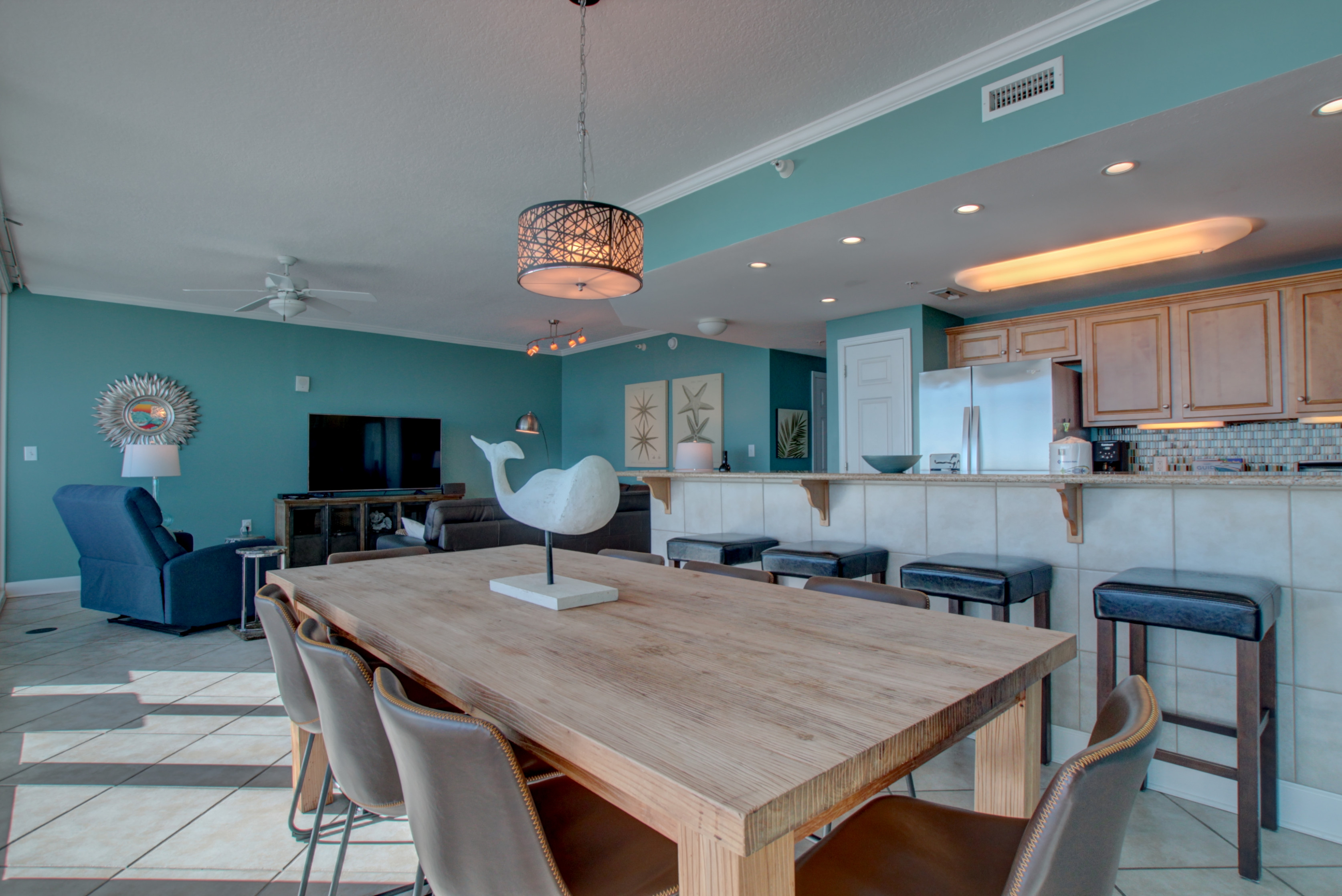 open concept, dining seats 8