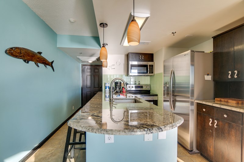 Gourmet kitchen with stainless steel appliances and renovated kitchen. Unobstructed views while cooking!
