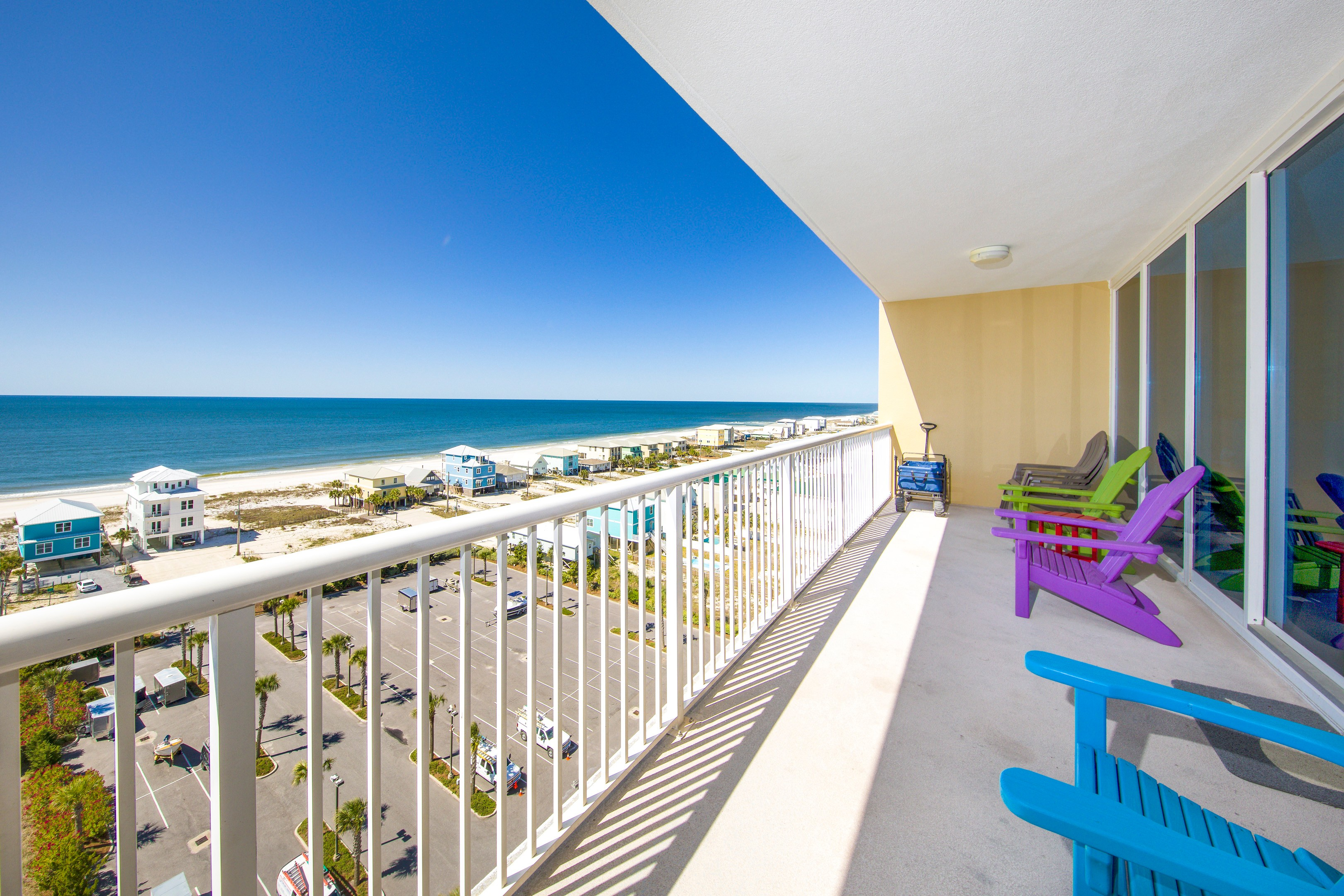 Enjoy the view of the Gulf and beach from the private balcony.