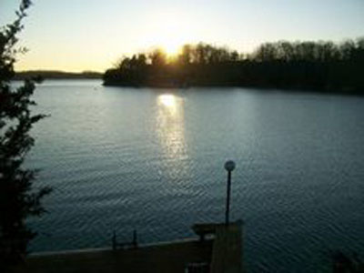 Beautiful view of Lake as sun sets in west
